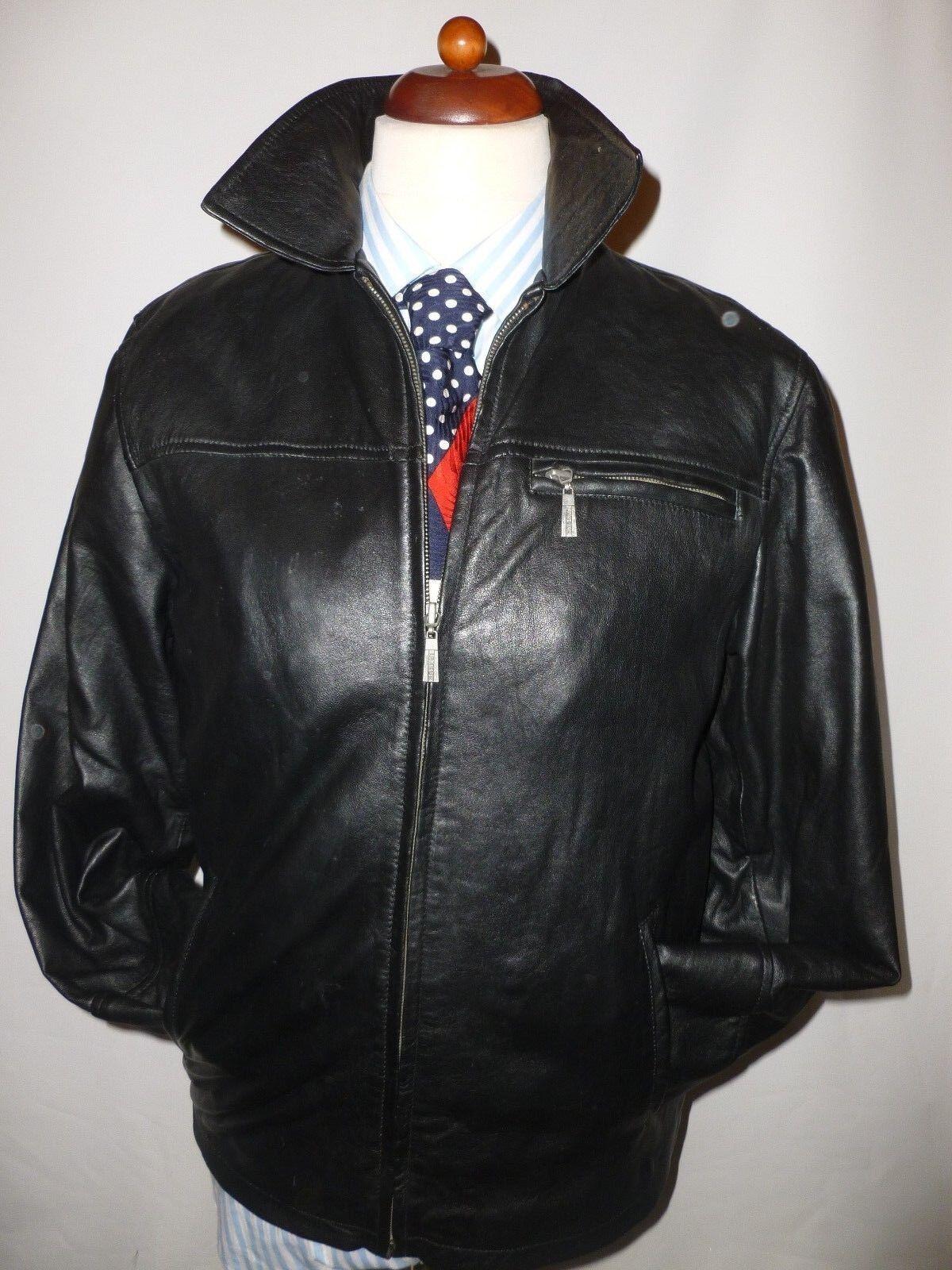 Hi Buxter Negro Chaqueta De Cuero Real-tamaño  S == Reino Unido 38 40  Venta en línea precio bajo descuento