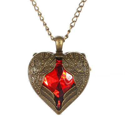 Bronze Heart Angel Wing with Red Rhinestone Pendant Long Necklace