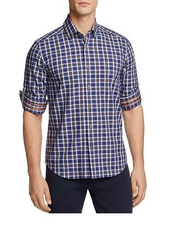 Robert Graham Men's Marten Plaid Slim Tailored Fit Button-Down Shirt bluee XL