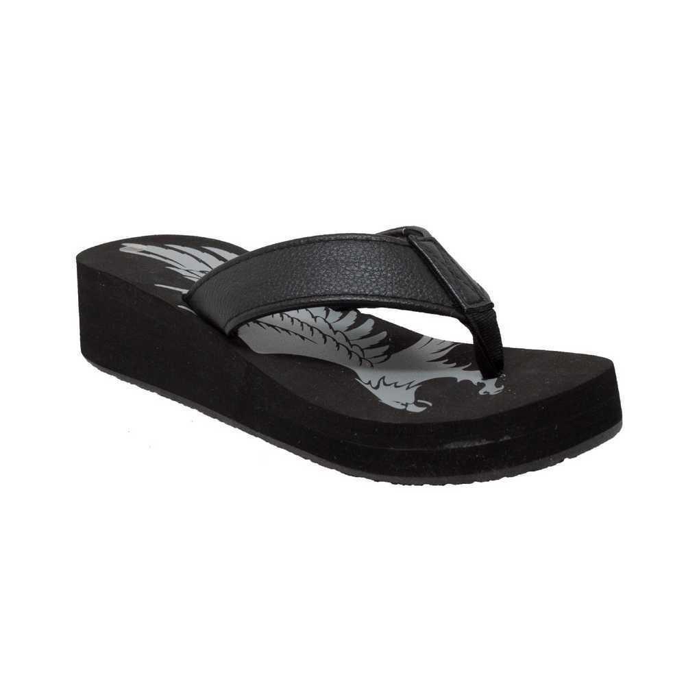 AdTec Women's Eagle Thong Flip Flop Black. Sandal, Small Wedge Heel, Black. Flop 8592 1822af