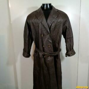 BEGED-OR-Vtg-Long-Lambskin-Leather-Trench-Coat-Womens-Size-6-L-Brown