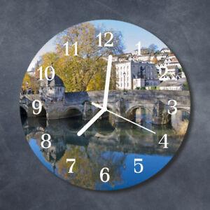 Glass-Wall-Clock-Kitchen-Clocks-30-cm-round-silent-Bridge-Multi-Coloured