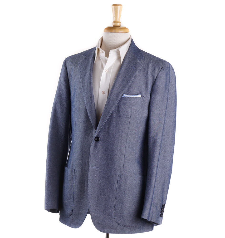 Mint 2995 SARTORIO by KITON Blau Chambray Cotton Sport Coat 40 R (Eu 50)