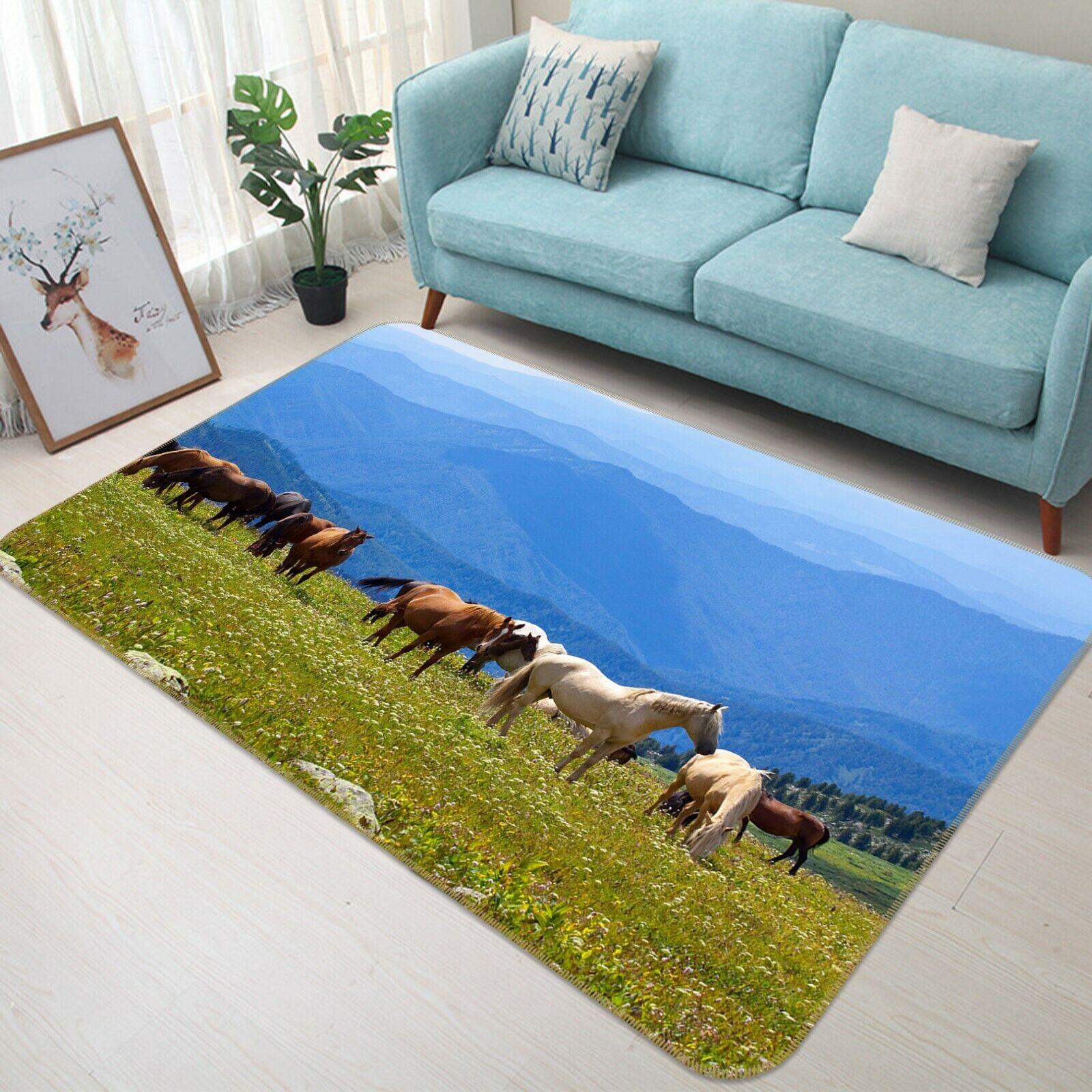 3D Prairie Cavallo C059 Animale tappetino antiscivolo tappeto rossoondo elegante Tappeto Wendy