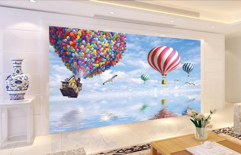 3D Fliegende Ballons 86 Tapete Wandgemälde Tapete Tapeten Bild Familie DE Summer