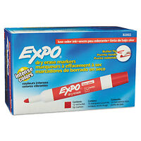 Expo Low Odor Dry Erase Marker Bullet Tip Red Dozen 82002 on sale