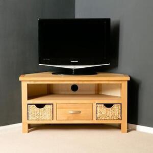 Image Is Loading London Oak Corner TV Stand With Baskets Light