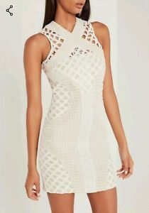 711813e483c Missguided carli bybel lace cut out cross neck bodycon dress white ...