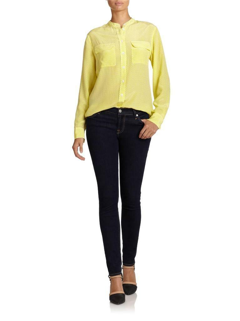 Equipment NWT Collarless Slim Signature Silk Blouse Bright White Canary L Large