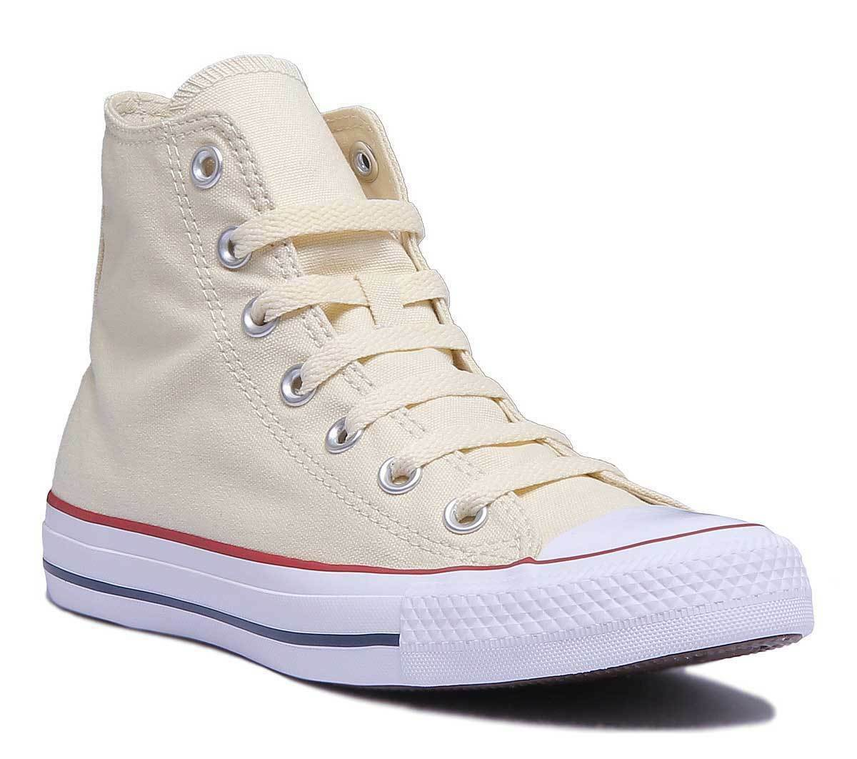 Converse Chuck Taylor All Star Hi Unisex Canvas Natural WEISS Hi Top Trainers Si