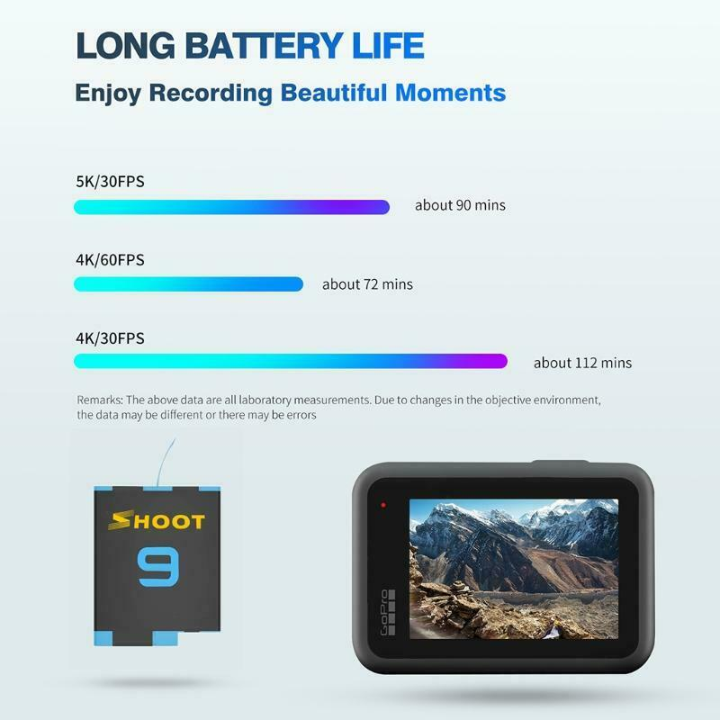 1800mAh Replacement Batteries and USB Fast Dual Charger for Hero 9 Black Camera