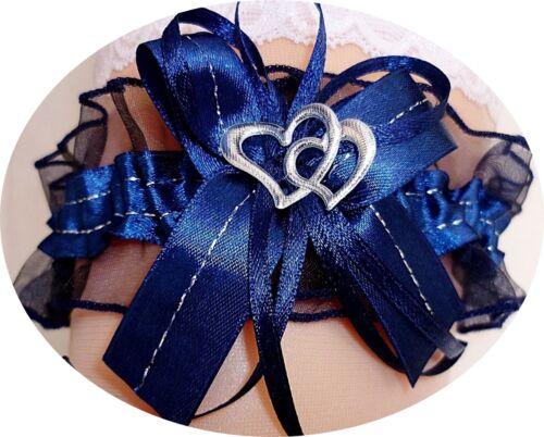 Strumpfband Braut dunkelblau blau nachtblau mit Schleife Herzchen Silbernaht NEU
