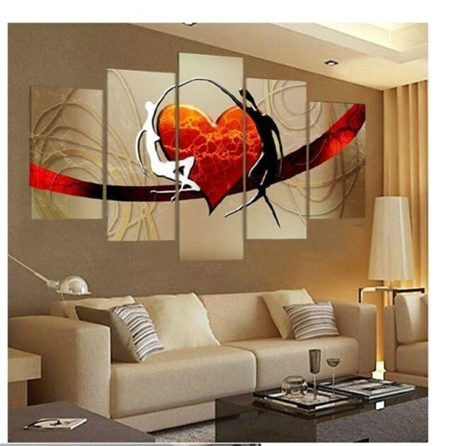 5P Large canvas NO frame Modern hand-draw Art Oil Painting Wall Art Decor