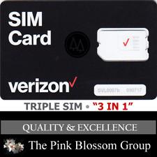 Verizon Triple SIM Card Standard Mini 2ff Micro 3ff Nano 4ff • CDMA 4glte