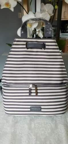 75 Modalu Zaino Ecopelle Stripe e £ Ruscksack Bnwt Canvas Grigio Bag Harriet EIw5qzcpz