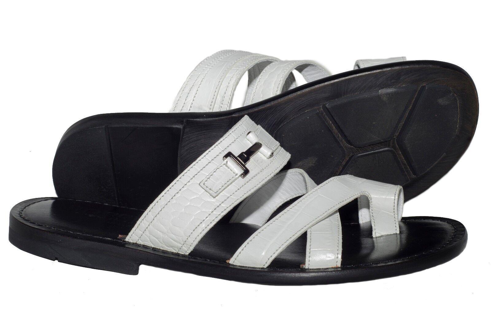 Rossi RS805 Italiam mens white leather push-in -toe sandals