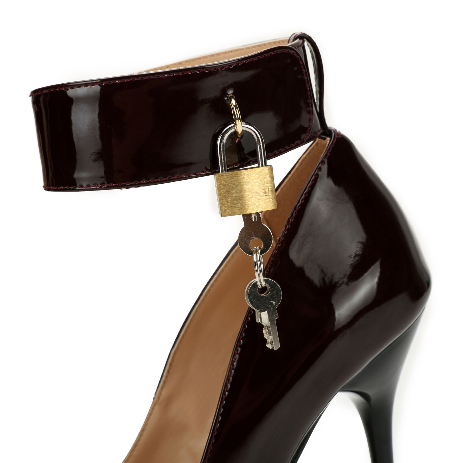 Funny Funny Funny Metal Lock Women Heels Stiletto Pointy Toes  Ankle Strap Plus SZ  shoes 93ee5e