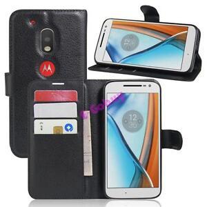 Clapet-Magnetique-Carte-Portefeuille-Cuir-PU-Etui-Pied-pour-Motorola-Moto-G4-Jeu