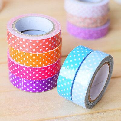 1Roll Japanese 15mm Washi Tape Dot Print DIY Book Paper Sticker Decorative Craft