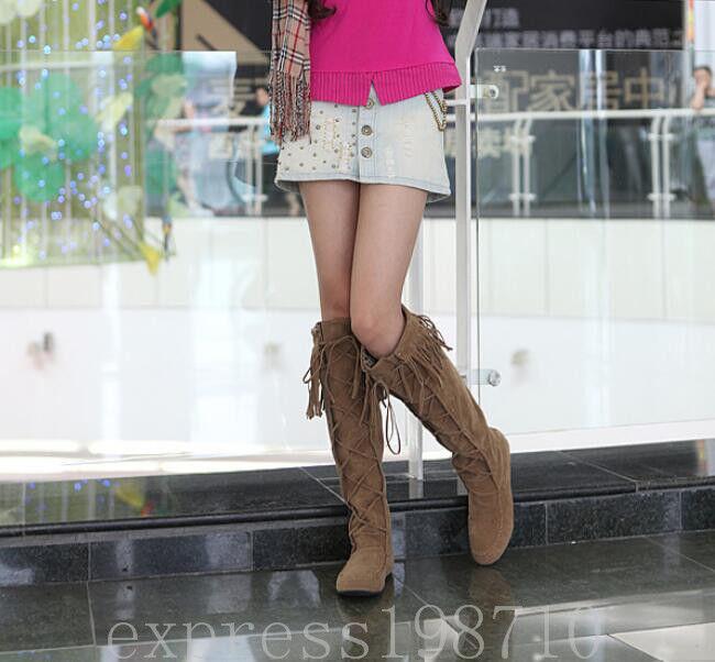 New Women's Tassels Moccasin Inside Knee High Knight Wedge Heels Boots Plus Size