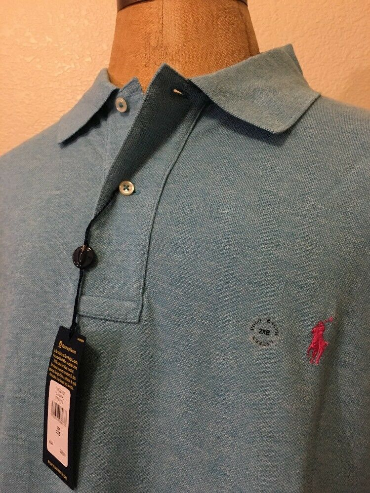 Polo Ralph Lauren Mens Big Tall Classic-Fit Polo Maui bluee W Pink Size 2XB NWT