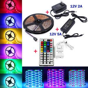 5M-RGB-3528-5050-Waterproof-LED-Strip-light-SMD-44-Key-Remote-12V-Power-Full-Kit