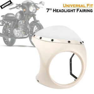 White-7-034-Motorcycle-Cafe-Racer-Headlight-Fairing-Windscreen-Windshield-Cover