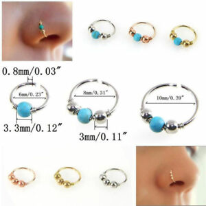 1xStainless-Steel-Nose-Ring-Turquoise-Nostril-Hoop-Nose-Earring-Piercing-Jewelry