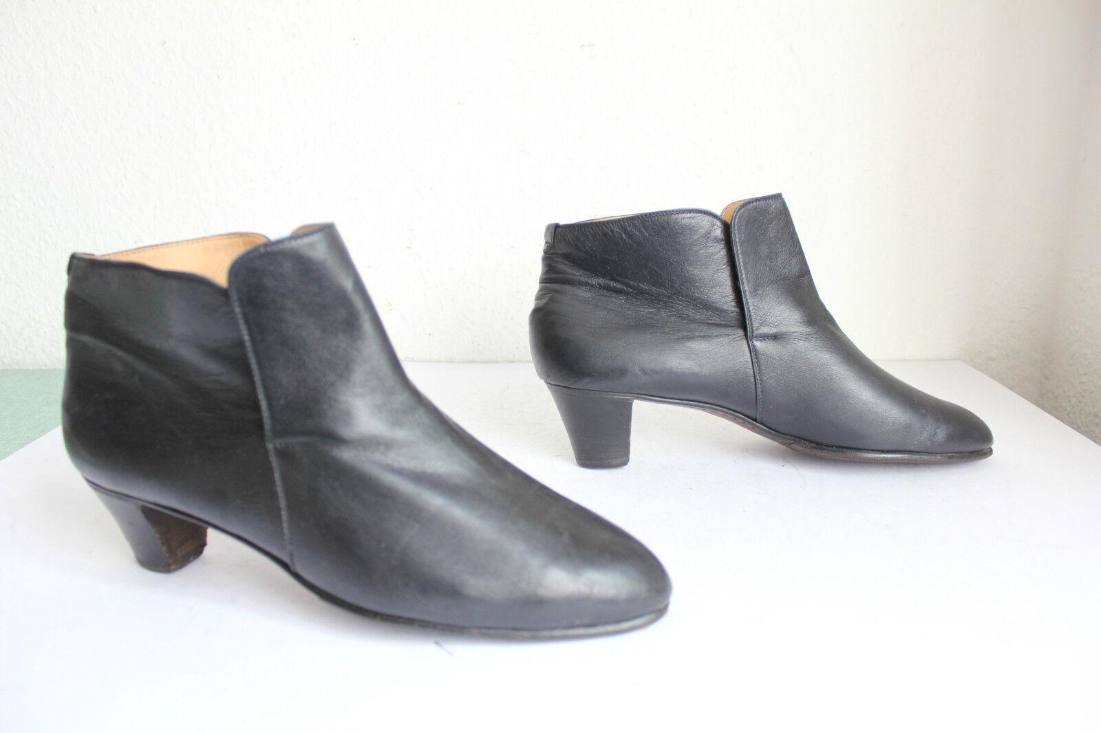 Vintage Quarvif Venezia Elegante Stiefeletten Stiefel Voll Echtleder Schwarz 41,5
