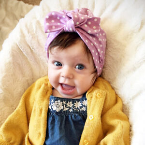 77bcb35e3b86 Cute Baby Girl Turban Bowknot Head Wrap Kids Rabbit Ear Hat Bunny ...