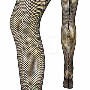 d24b045a6 NEW WOMENS LADIES DIAMANTE SEAM BACK SEAMED FISHNET TIGHTS PANTYHOSE ...