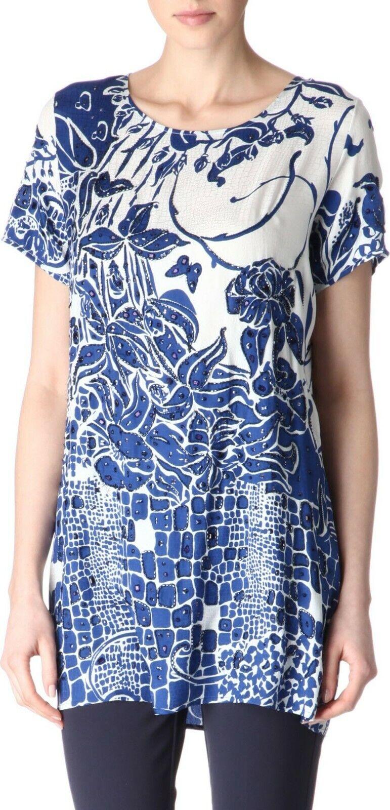 K Emilio PUCCI silk top tunic butterfly Blau Weiß embellished  sz 42 8 10 M L