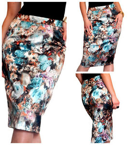 Womens Pencil Skirt Midi Floral Size 8 10 12 14 16 18 by N/A