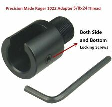 308 Aluminum Ruger 1022 10-22 Muzzle Brake Adapter 5/8x24 Thread, Three Lock Nut