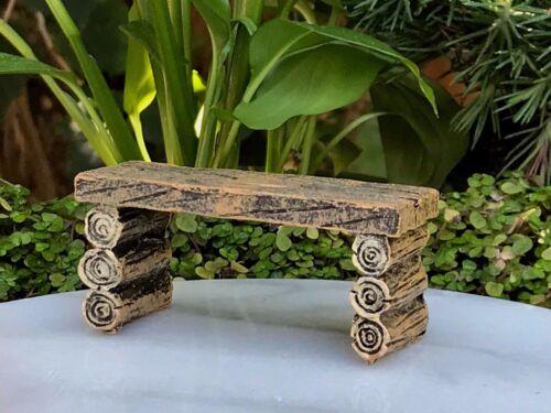 Miniature Dollhouse FAIRY GARDEN Furniture ~ Mini Log Look Resin Table Bench NEW