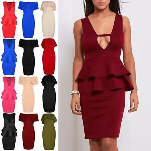 Women-Mini-Dress-Ladies-V-Neck-Sleeveless-Double-Frill-Peplum-Back-Split-Bodycon
