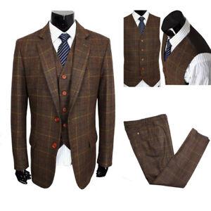 Classic-Tweed-Wool-Blend-Men-Suit-3Piece-Check-Plaid-Brown-Striped-Blazer-Custom