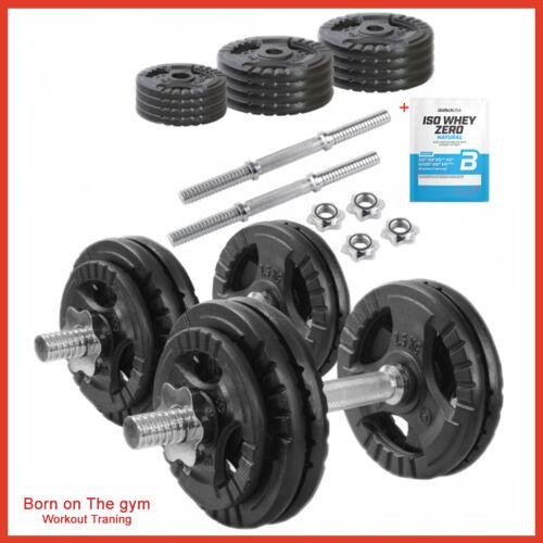 50kg Adjustable Dumbbell Set TRI-GRIP Black Cast Iron Spinlock Gym Weights 15kg