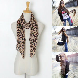 Fashion-Ladies-Women-Brown-Leopard-Print-Scarf-Wrap-Chiffon-Shawl-Large-Stole