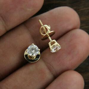 1-00ct-Corte-Redondo-D-VVS1-Diamante-Solitario-Stud-Pendientes-de-Oro-Amarillo-14k-de-acabado