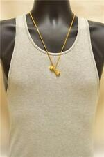 14K Gold Plated Dumbbell Charm Pendant Titanium Steel Cuban Link Neck Chain 24""