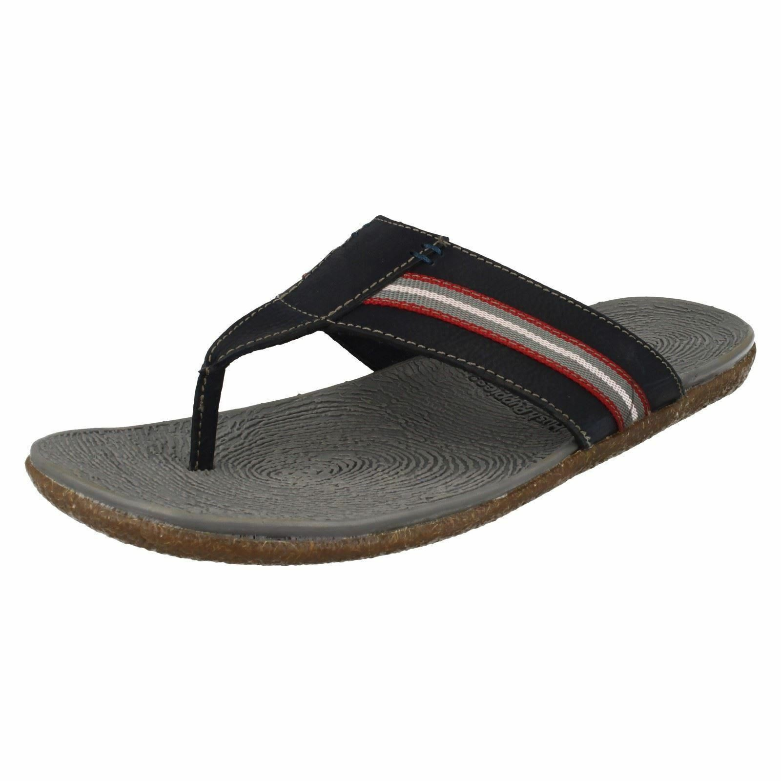 Mens Hush Puppies Frame Toe Post Navy Leather Casual Flip Flop Sandals