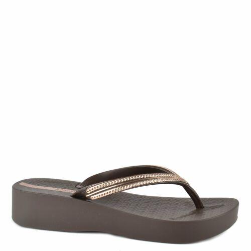 Ipanema Brown Mesh Wedge Flip Flop