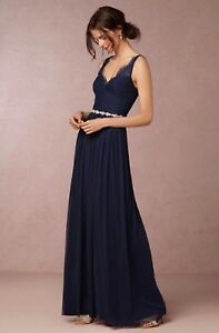 73f11870e320 NEW $250 BHLDN Hitherto Fleur Dress In Navy Blue Bridesmaids Size 8 ...