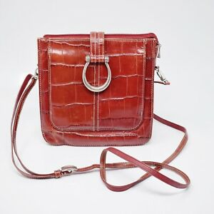 Brighton-Women-Size-S-Red-Leather-Crossbody-Bag