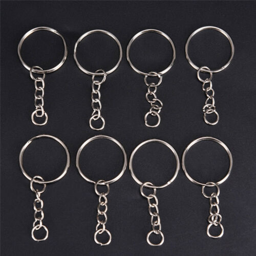 5//10//50Pcs Stainless Steel Split Keychain Keyring Holder DIY Making Craft Silver