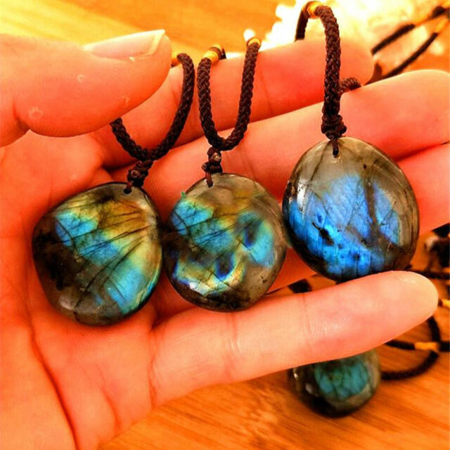 Natural Crystal Moonstone Labradorite Pendant Necklace Women Men Fashion Jewelry