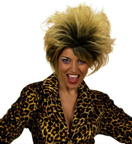 Mesdames 80s Pop Star Perruque Blonde Marron ROCK Diva TINA TURNER enfant sauvage Fantaisie Dres afficher le titre d'origine