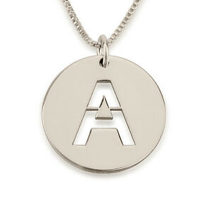 9c8cce54f Image is loading Celebrity-Style-Circle-Initial-Necklace-Sterling-Silver -Personalized-
