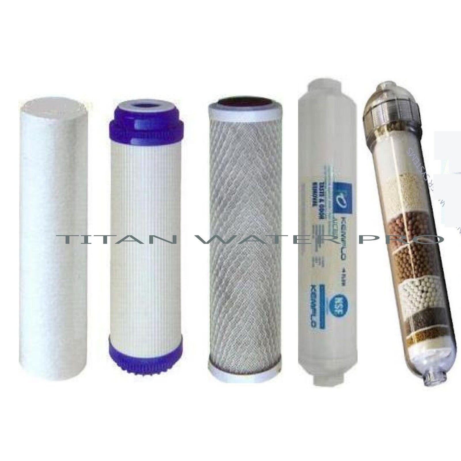 Water Filter Replacement 5 Pc Set Sediment CTO GAC Alkaline Ionizer Post Carbon